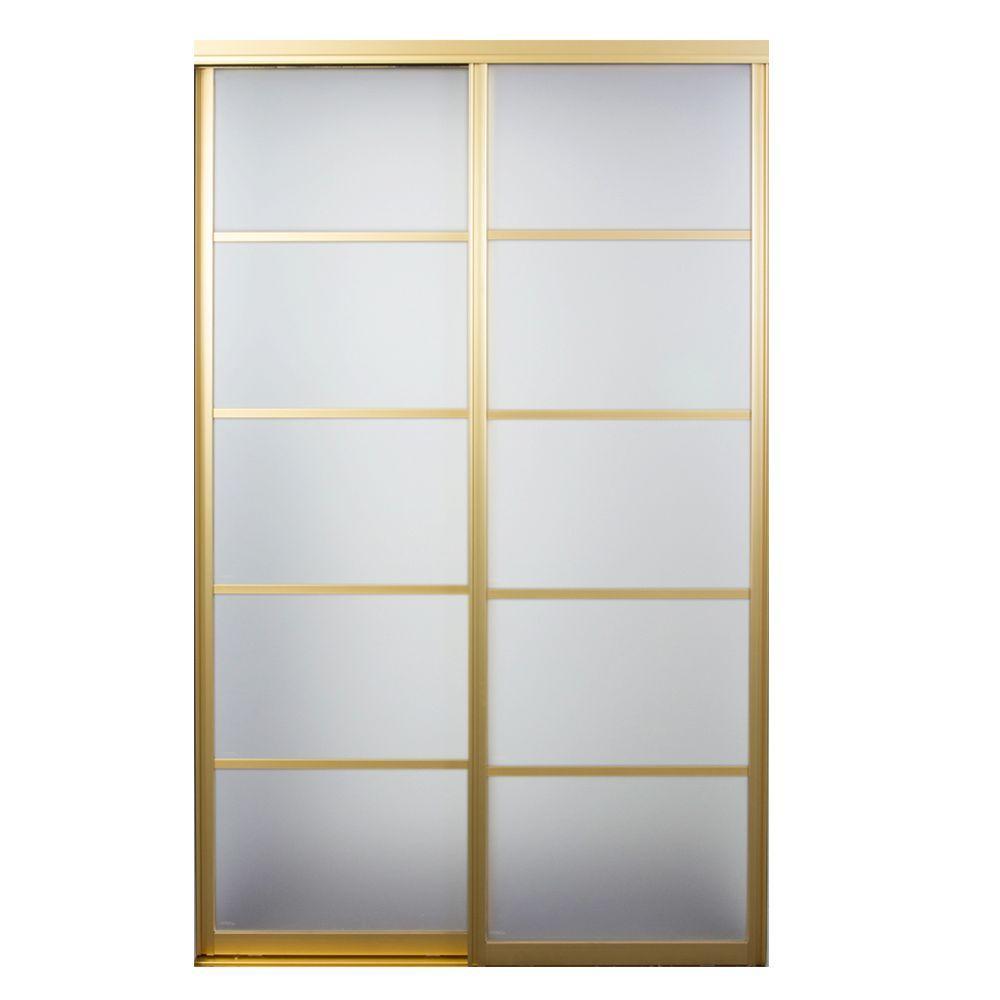 Silhouette 5-Lite Mystique Glass Satin Gold Aluminum Interior Sliding Door