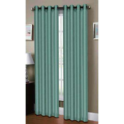 Semi-Opaque Raphael Heathered Faux-Linen Extra-Wide 96 in. L Grommet Curtain Panel Pair, Teal (Set of 2)