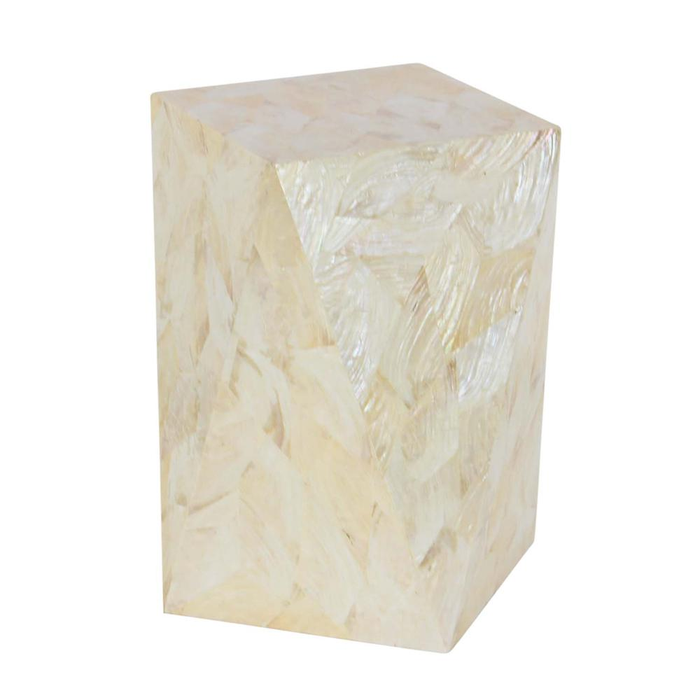 Coastal Living Geometrical-Shaped Accent Table in White