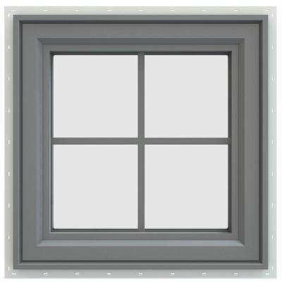 23.5 in. x 23.5 in. V-4500 Series Right-Hand Casement Vinyl Window with Grids - Gray