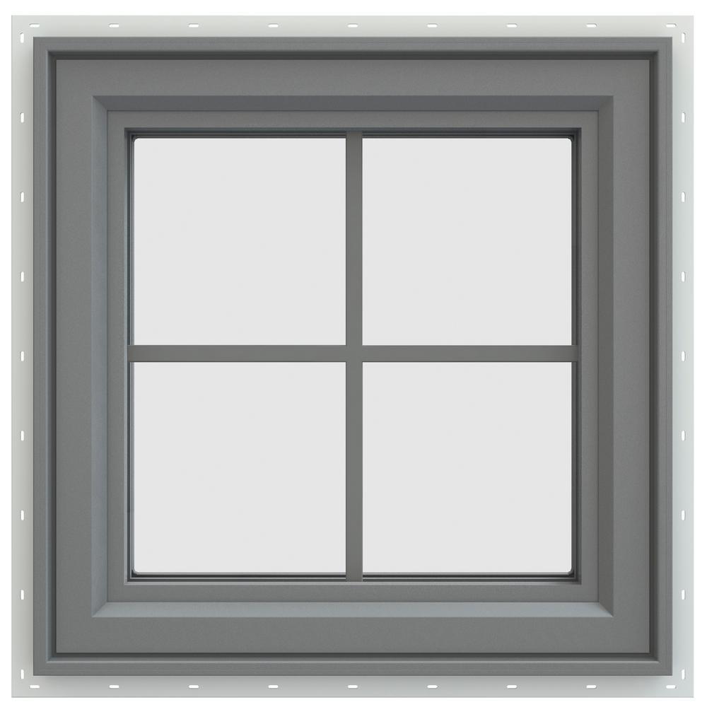 23.5 in. x 23.5 in. V-4500 Series Left-Hand Casement Vinyl Window with Grids - Gray