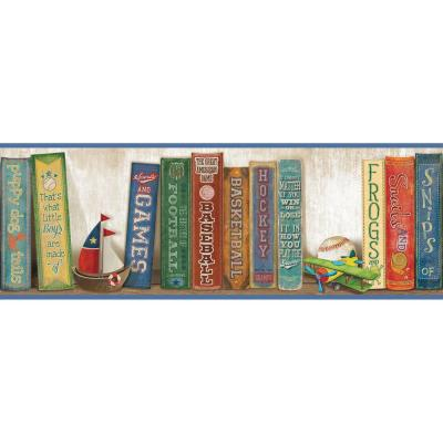 Stevie Blue Play The Game Bookshelf Blue Wallpaper Border