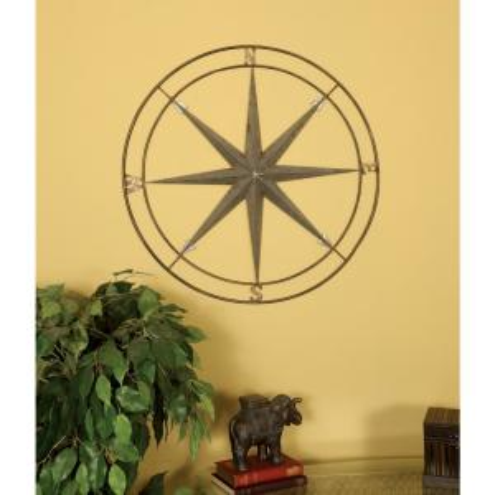 Gun Metal Silver Compass Metal Work Wall Decor by