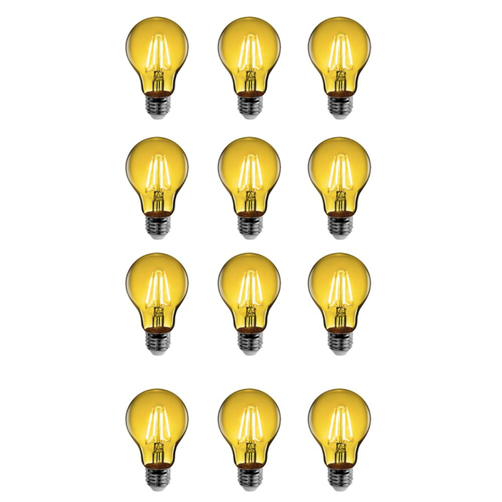 Feit Electric 25-Watt Equivalent A19 Medium E26 Base Dimmable Filament Yellow Colored LED Clear Glass Light Bulb (12-Pack)