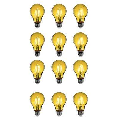 25-Watt Equivalent A19 Medium E26 Base Dimmable Filament Yellow Colored LED Clear Glass Light Bulb (12-Pack)