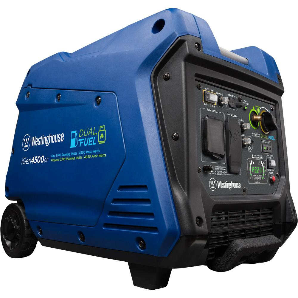 Westinghouse 4,500/3,700 Dual Fuel Gasoline or Propane Portable Inverter  Generator with LED Display and Remote Electric Start