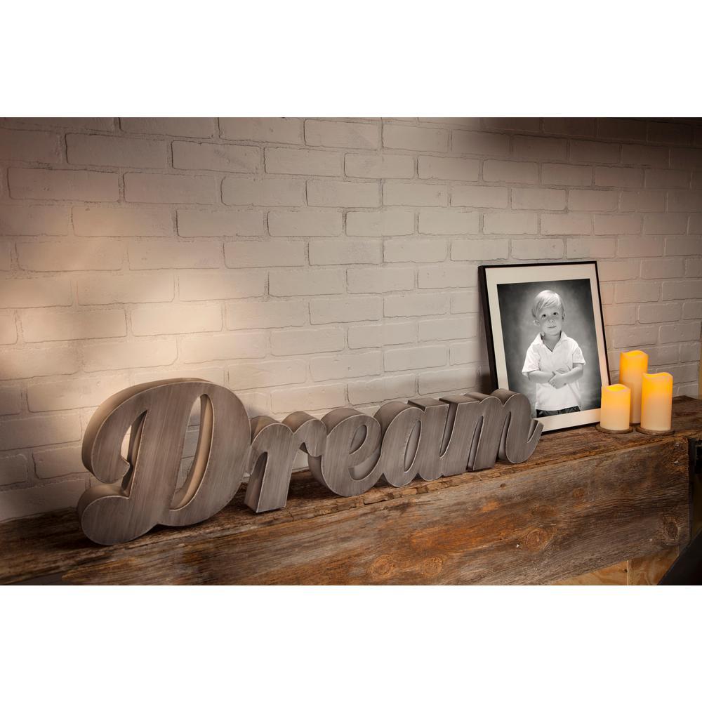 """11 in. x 42 in. Metal """"Dream"""" Wall Art"""