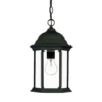 Madison Collection 1-Light Black Coral Outdoor Hanging Lantern
