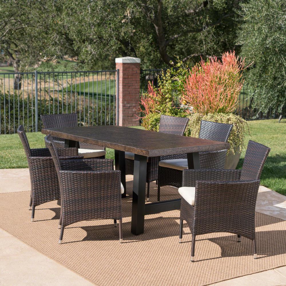 Moana Multi-Brown 7-Piece Polyhtylene Wicker Outdoor Dining Set with Beige Cushions