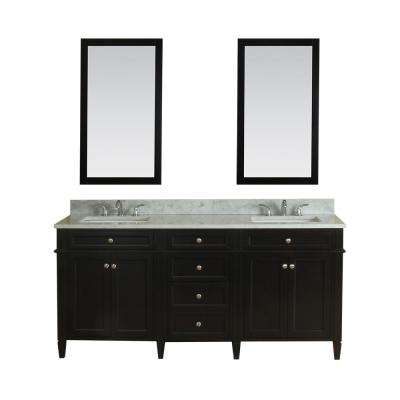 Samantha 72 in. W x 22 in. D Vanity in Espresso with Marble Vanity Top in White with White Basin and Mirror