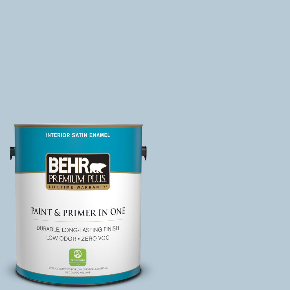 1 gal. #PPU14-15 Denim Light Zero VOC Satin Enamel Interior Paint