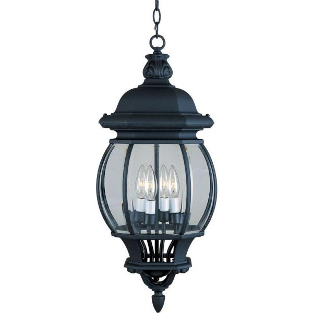 Crown Hill 4-Light Black Outdoor Hanging Lantern