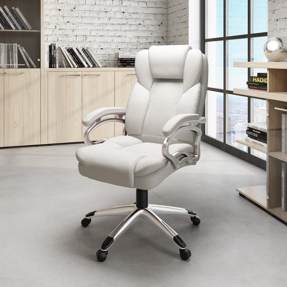 CorLiving Workspace Executive Office Chair in White ...