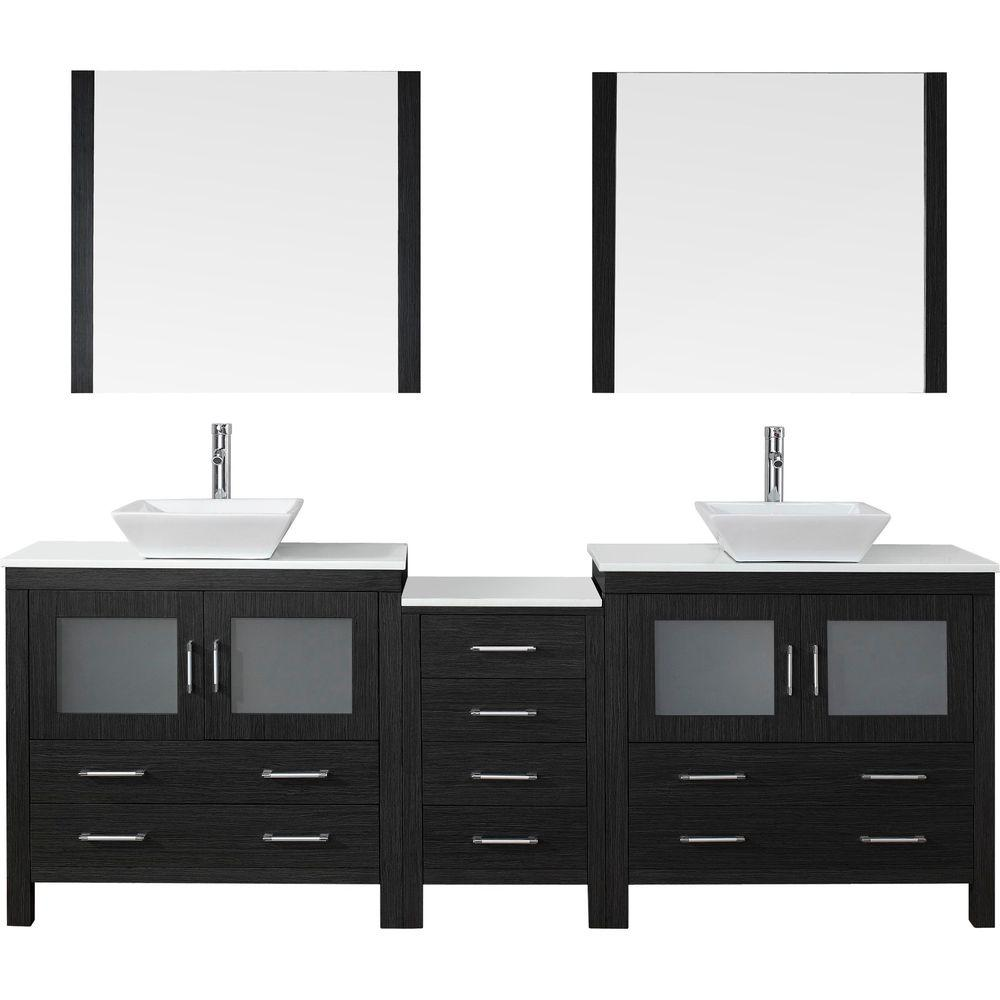 Virtu USA Dior 90 in. W x 18.3 in. D Vanity in Zebra Grey with Stone Vanity Top in White with White Basin and Mirror