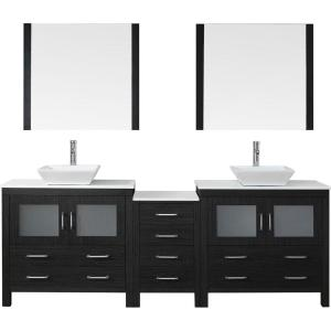 Virtu USA Dior 90 inch W x 18.3 inch D Vanity in Zebra Grey with Stone Vanity Top in White with White Basin and Mirror by Virtu USA