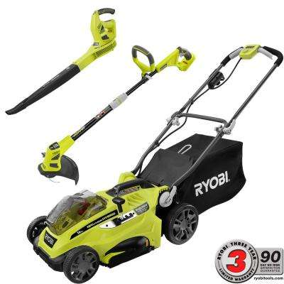 ONE+ 18-Volt 16 in. Hybrid Lawn Mower with Hybrid Trimmer and Sweeper Combo Kit - Battery and Charger Not Included