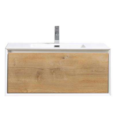 Vienna 35.80 in. W x 18..90 in. D x 15.70 in. H Vanity in White-Oak with Acrylic Vanity Top in White with White Basin