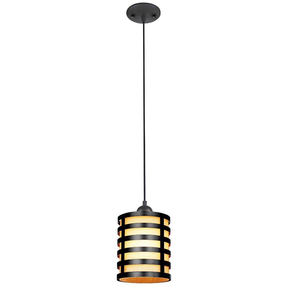 1-Light Oil Rubbed Bronze Adjustable Mini Pendant with Amber Glass Shade