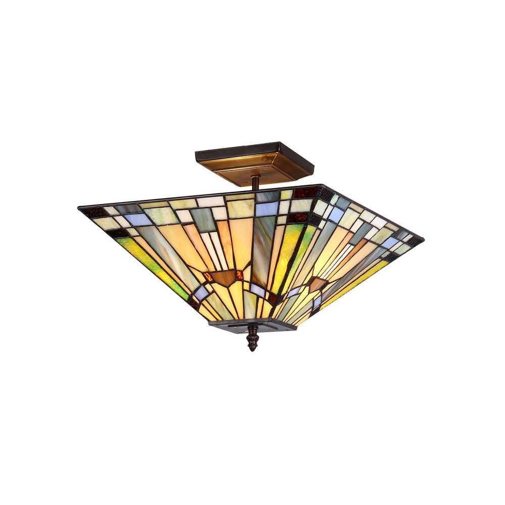 Chloe Lighting Kinsey 2-Light Bronze Tiffany Style Mission Semi Flush Mount Ceiling Fixture with 14 in. Shade