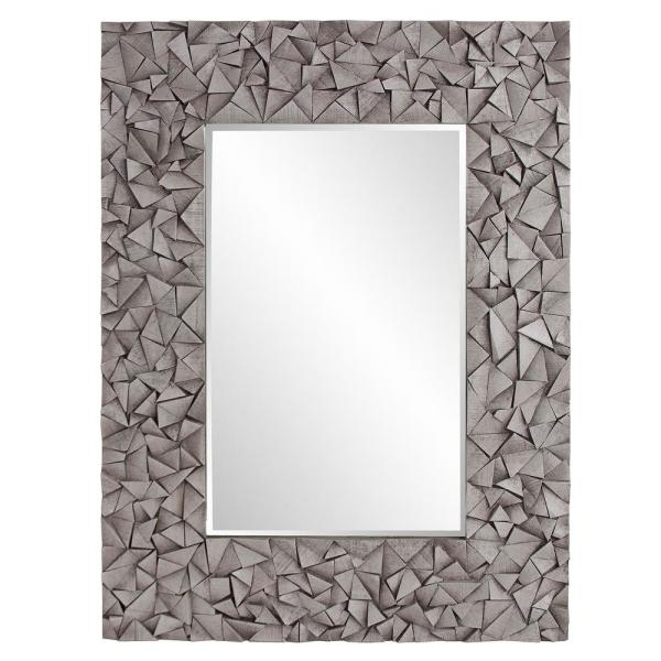 48 in. H x 36 in. W Large Rectangle Gray Wash Beveled Glass Contemporary Mirror