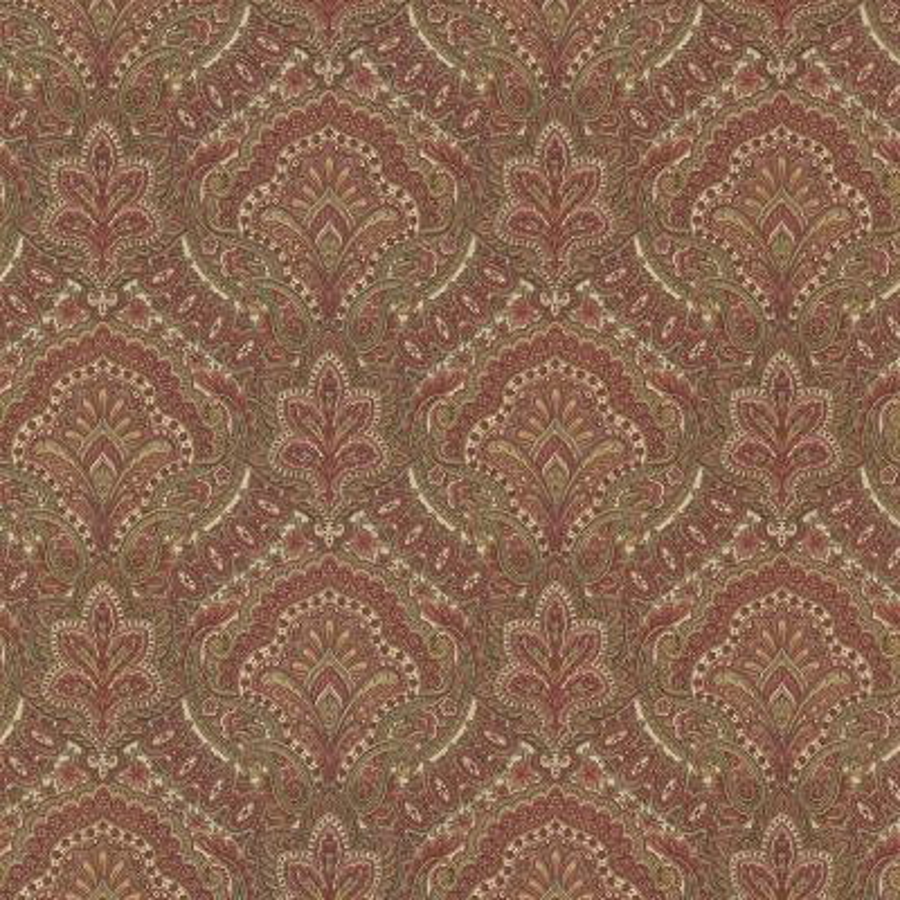 56.4 sq. ft. Cypress Burgundy Paisley Damask Wallpaper