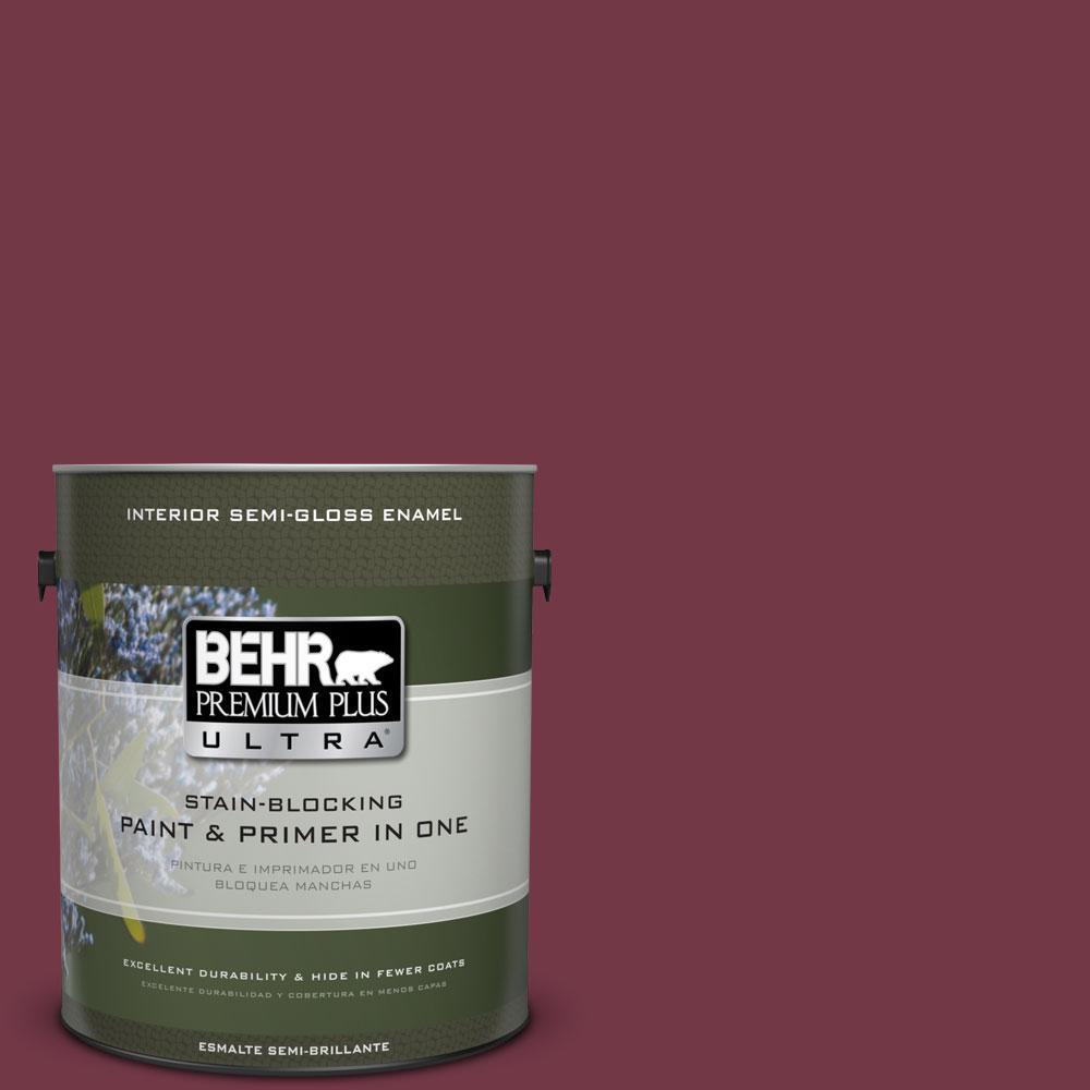 BEHR Premium Plus Ultra 1-gal. #ICC-110 Vintage Merlot Semi-Gloss Enamel Interior Paint
