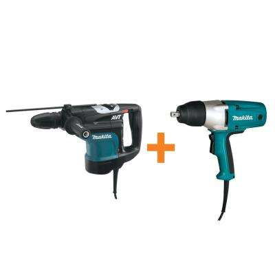 13.5 Amp 1-3/4 in. SDS-MAX AVT Rotary Hammer Drill with Free 3.5 Amp 1/2 in. Corded Impact Wrench