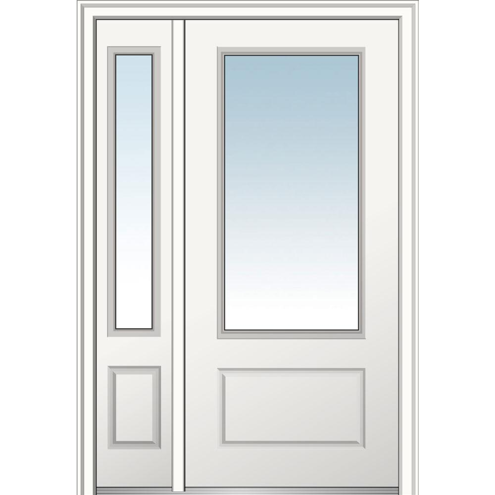 MMI Door 48 in. x 80 in. Clear Glass Right Hand 3/4 Lite 1-panel Primed Fiberglass Smooth Prehung Front Door with One Sidelite