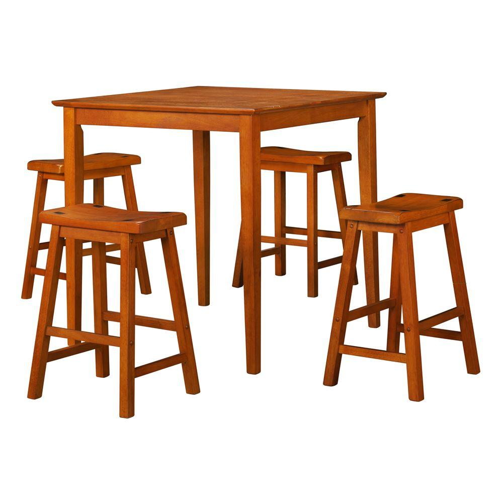 HomeSullivan Oak Dining Set with 24 in. Bar Stools (5-Piece)-DISCONTINUED