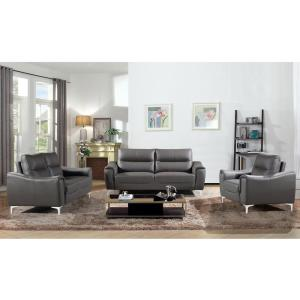 AC Pacific Rachel 3-Piece Gray Modern Leather and Fabric ...