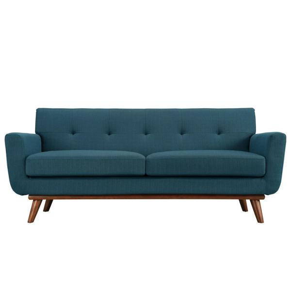 Engage 78 in. Azure Polyester 2-Seater Loveseat with Wood Legs