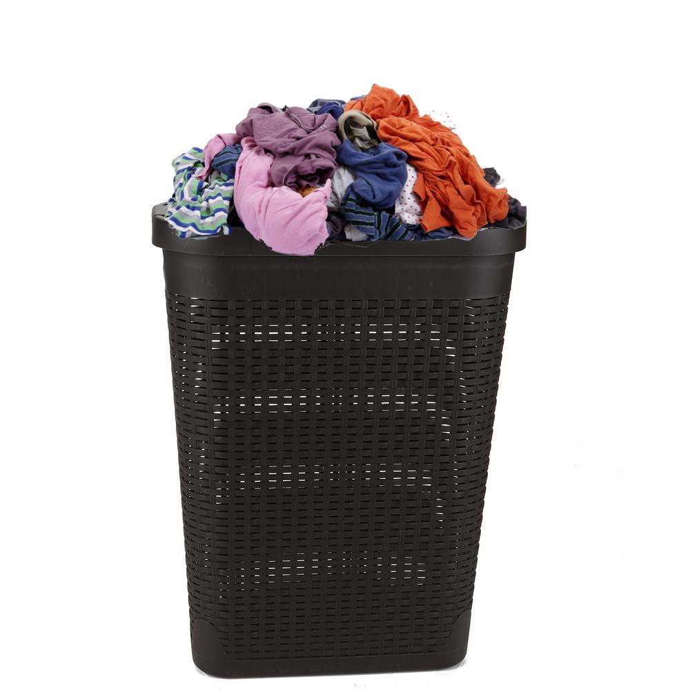 Large Rattan 60L Plastic Laundry Washing Clothes Bin Multi Storage Basket Box