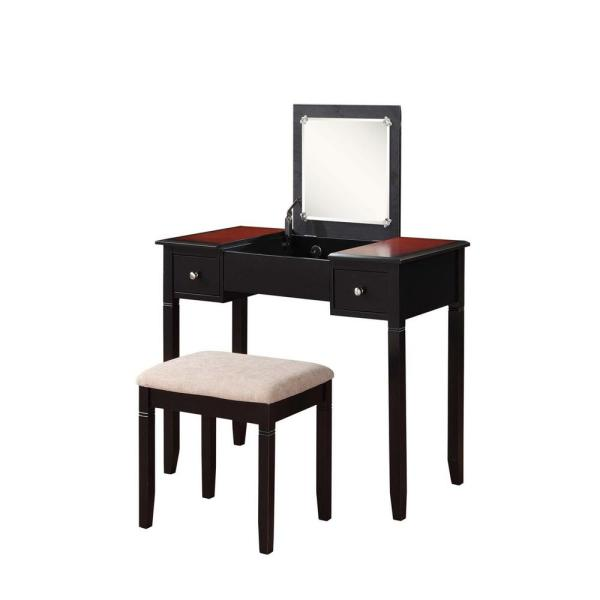 Linon Home Decor Camden 2-Piece Black Cherry Vanity Set
