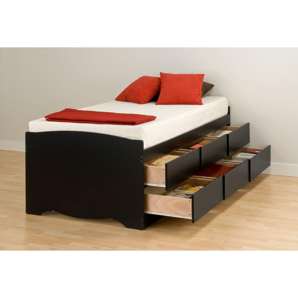 Prepac Sonoma Twin Wood Storage Bed Bbt 4106 K The Home Depot