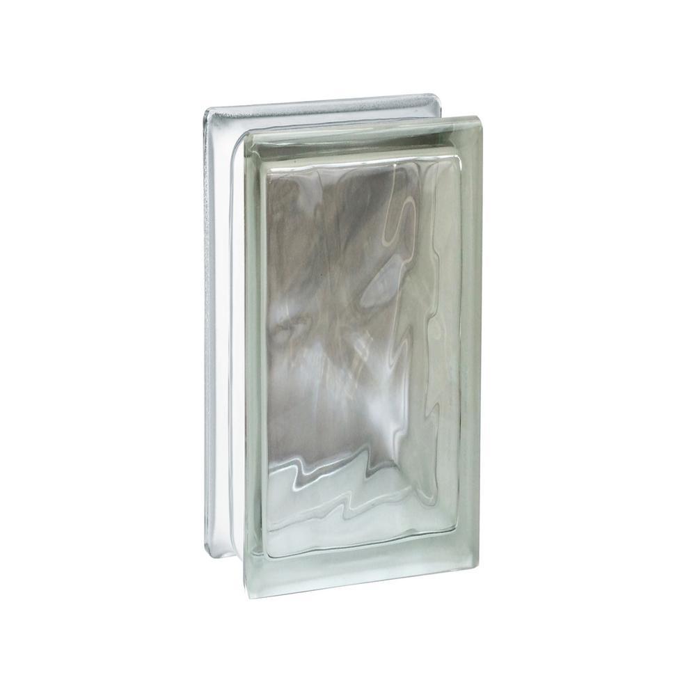 Nubio 3.75 in. x 7.75 in. x 3.875 in. Wave Pattern Glass Block (8-Pack)