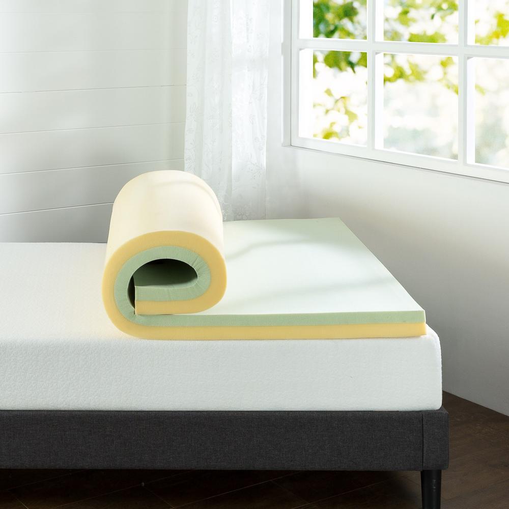 3 in. Green Tea Queen Short Memory Foam Mattress Topper