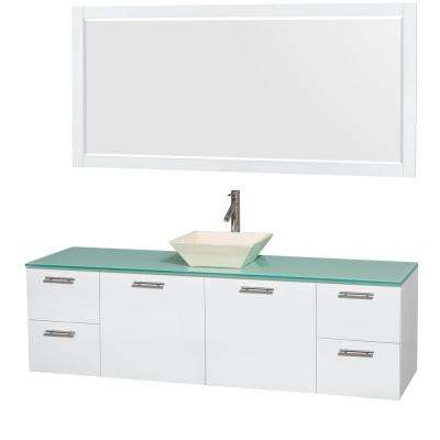Amare 72 in. Vanity in Glossy White with Glass Vanity Top in Green, Porcelain Sink and 70 in. Mirror