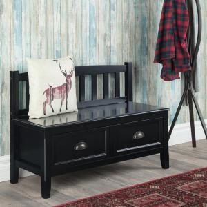 Peachy Simpli Home 42 In Burlington Black Solid Wood Wide Entryway Ncnpc Chair Design For Home Ncnpcorg