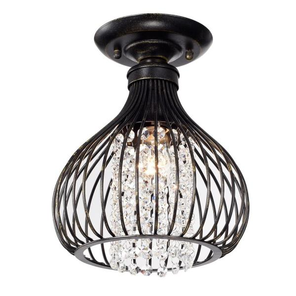 9 in. 1-Light Antique Bronze Metal Semi-Flush Mount with and Crystal Bead Bell Shade