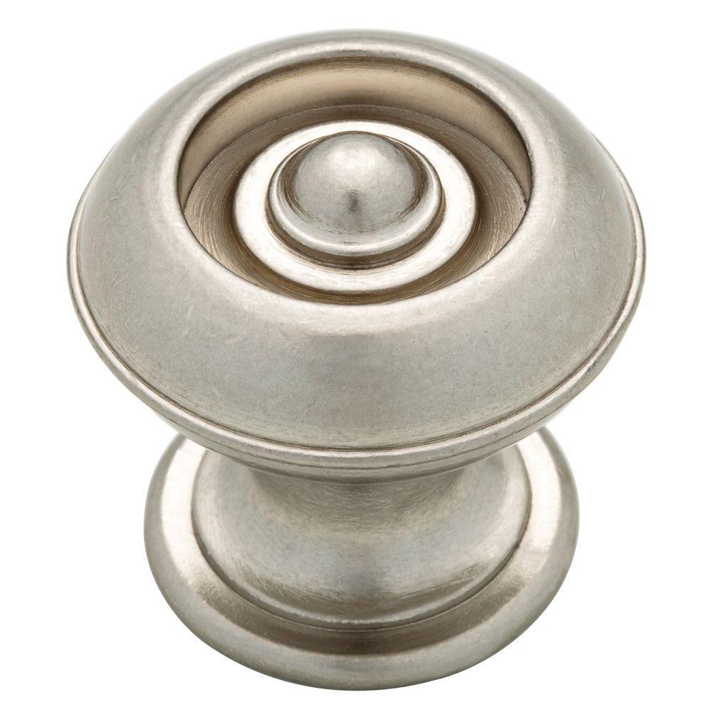 Martha Stewart Living 1-1/8 in. Bedford Nickel Button Cabinet Knob