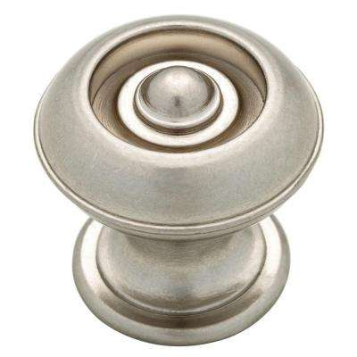 Button 1-3/16 in. (30mm) Bedford Nickel Round Cabinet Knob