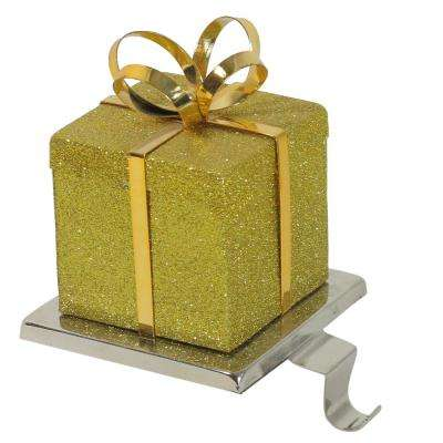 6 in. Gold Glittered Gift Box Shaped Christmas Stocking Holder