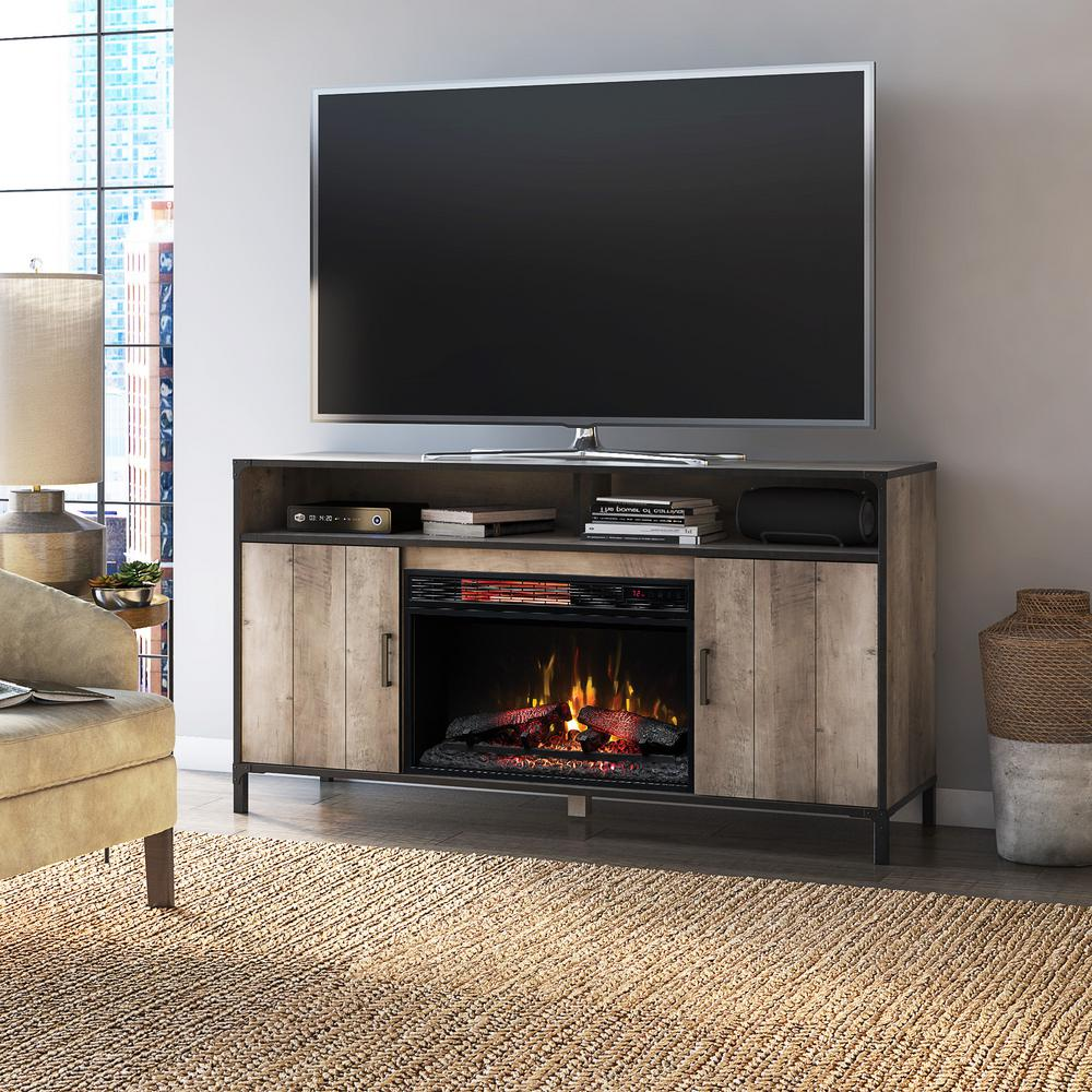 Home Decorators Collection Lynhurst 58 In Freestanding Media Mantel Electrical Fireplace Tv Stand Modern Valley Pine