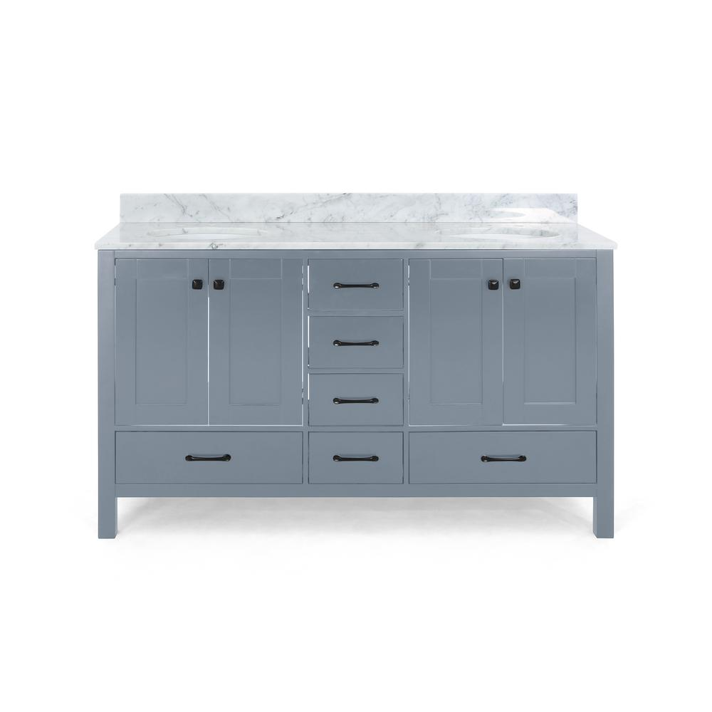 Noble House Lyndon 72 in. W x 22 in. D Bath Vanity with Carrara Marble Vanity Top in Grey with White Basin