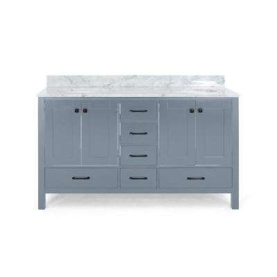 Lyndon 72 in. W x 22 in. D Bath Vanity with Carrara Marble Vanity Top in Grey with White Basin