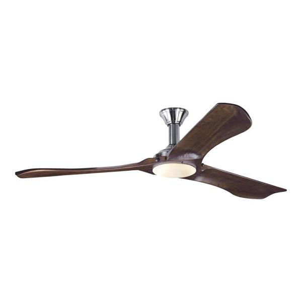 Minimalist Max 72 in. LED Indoor/Outdoor Brushed Steel Ceiling Fan with Dark Walnut Balsa Blades and Remote Control