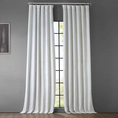 Oyster White Faux Linen Blackout Room Darkening Curtain - 50 in. W x 120 in. L