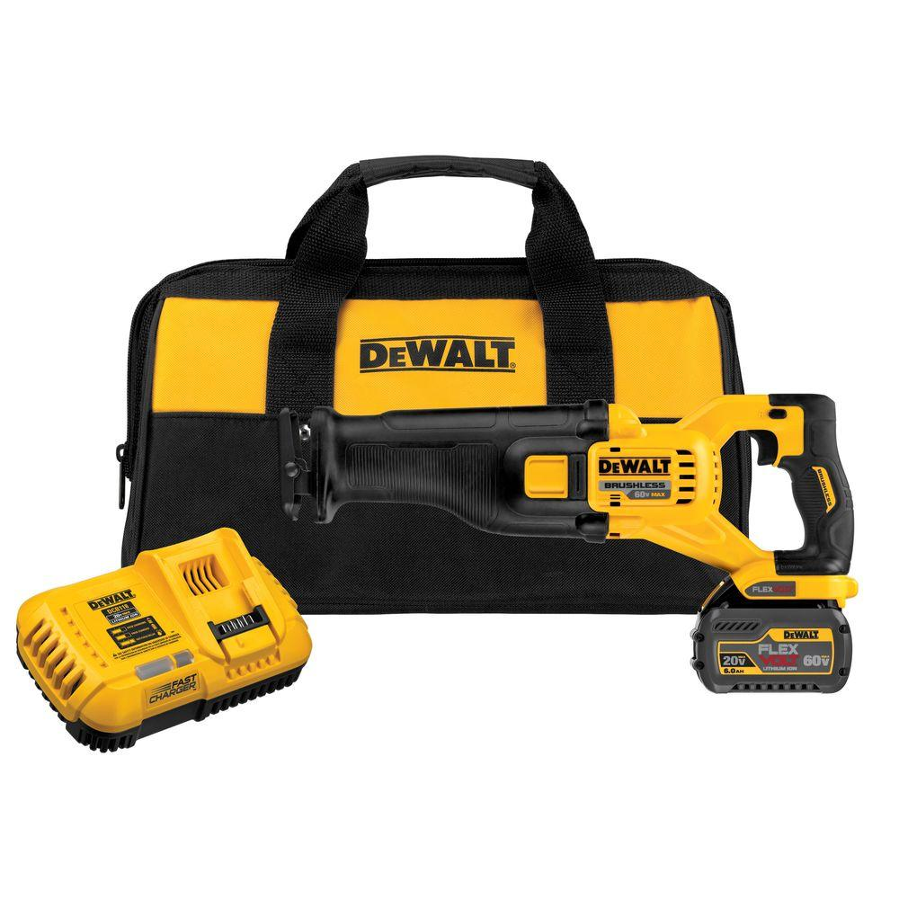 DEWALT FLEXVOLT 60-Volt MAX Lithium-Ion Cordless Brushless Reciprocating Saw with (1) Battery 2Ah, Charger and Contractor Bag