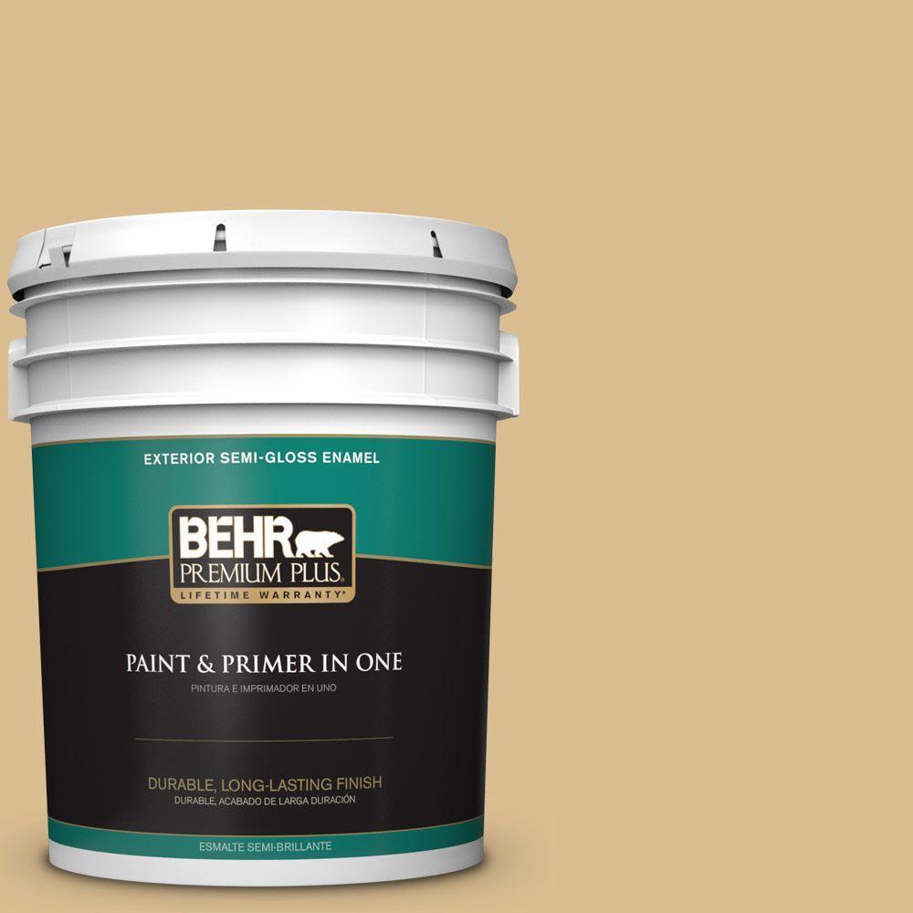 BEHR Premium Plus 5 gal. #N310-4 Desert Khaki Semi-Gloss Enamel ...