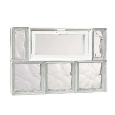 23.25 in. x 15.75 in. x 3.125 in. Wave Pattern Glass Block Masonry Window with Vent